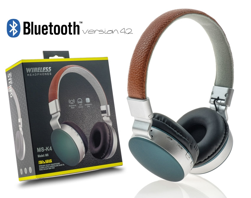Wireless Headset MS-K4 Brown-Green με συσκευασία image