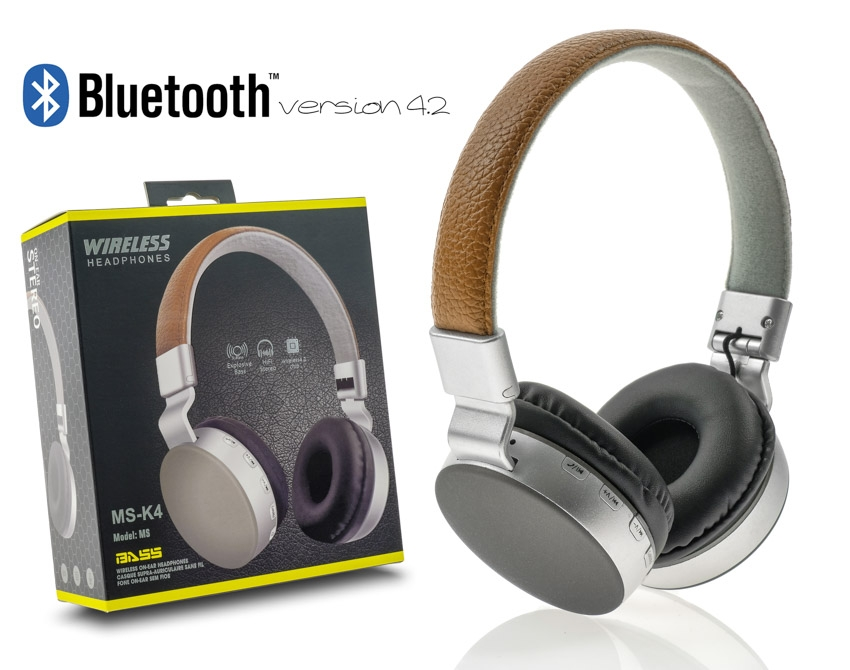 Wireless Headset MS-K4 Brown-Grey με συσκευασία image
